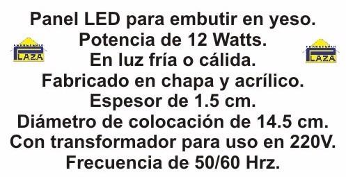 panel / plafón luz led 12 watts para embutir cielorraso yeso