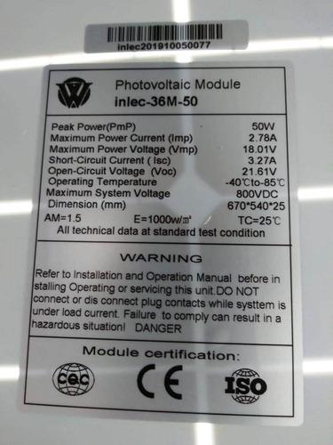 panel solar 50w mas regulador de voltaje solar.