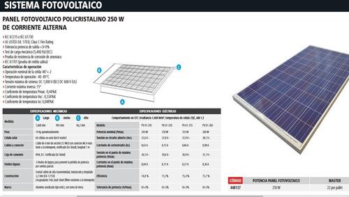 panel solar fotovoltaico 250w
