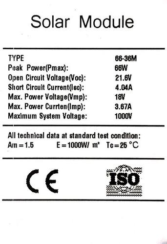 panel solar monocristalino 66 w