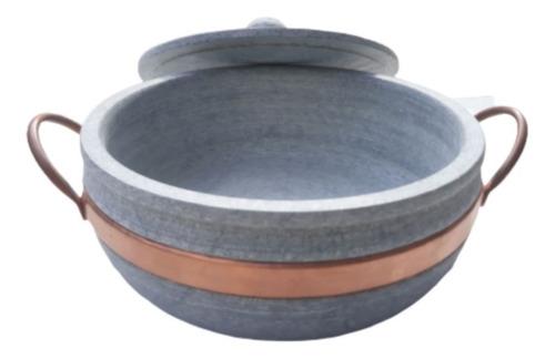 panela de pedra 3 litros com alça de cobre, curada