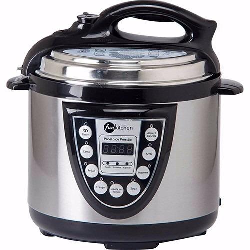 panela de pressão elétrica 4l inox  fun kitchen 220v