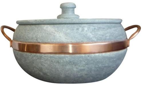 panela em pedra-sabão - alça de cobre 5 litros-frete grátis