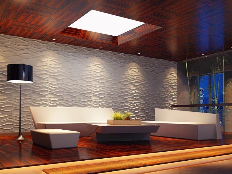 Paneles decorativos 3d para paredes ondas material for Paneles acrilicos para paredes