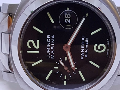 panerai luminor marina 44 mm. bracelete aço e crocodilo