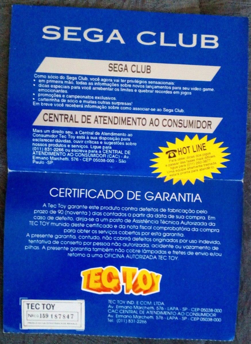 Panfleto Original Certificado De Garantia Tec Toy Sega Club - R  50 ... fdc7b6d9f9cc3