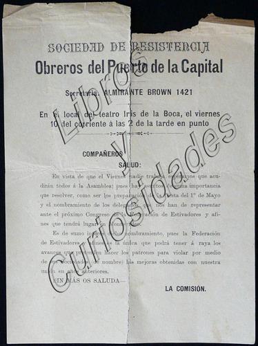 panfleto sindical antiguo sociedad de resistencia. 25369