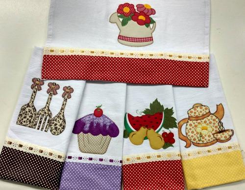 pano de prato bordado patchwork barrado passa-fita cetim