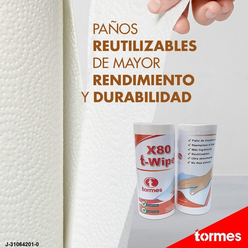 paños limpieza t- wipe x80 reutilizable (tipo wypall) 3 roll