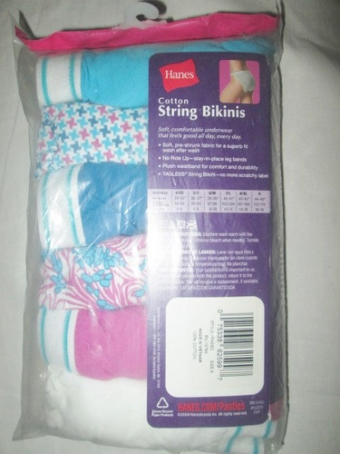 pantaletas algodon corte bikini talla 9 hanes americanos