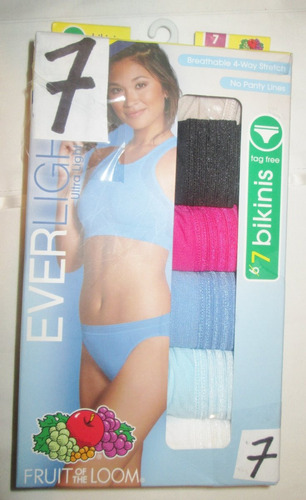 pantaletas bikini nylon de colores talla 7 (32/34) fruit of