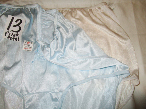 pantaletas crema y azul nylon corte completo talla 13 pink p