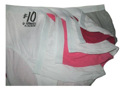 pantaletas de colores corte completo talla 10 (38/40) hanes