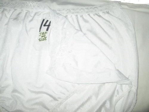 pantaletas nylon blancas corte completo talla plus 14 just m