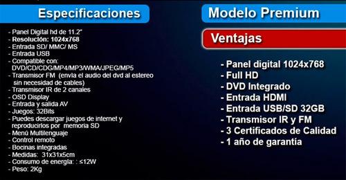 pantalla 10.4' vak vc-1028 dvd entrada hdmi usb sd juegos te