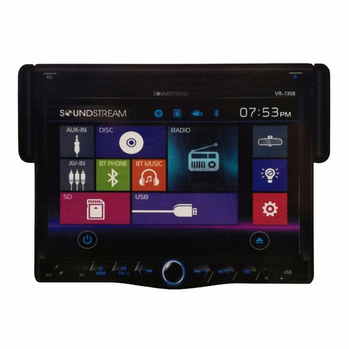 pantalla 7 plg soundstream vr-735b cd bluetooth & usb 1 din