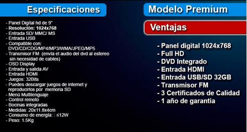 pantalla 9' vak vc-998 dvd entrada hdmi usb sd tv juegos tec