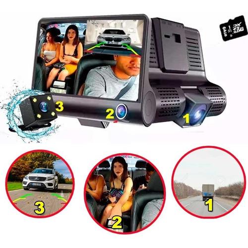 pantalla con 3 camaras grabadoras y camara de reversa