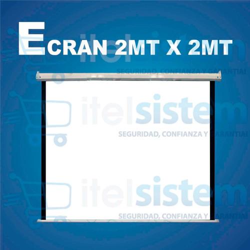 pantalla ecran 1.8m x 1.8m retractil techo sellad itelsistem