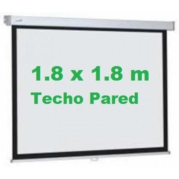 pantalla ecran 1.8x1.8m - retráctil techo pared 100 pulgadas