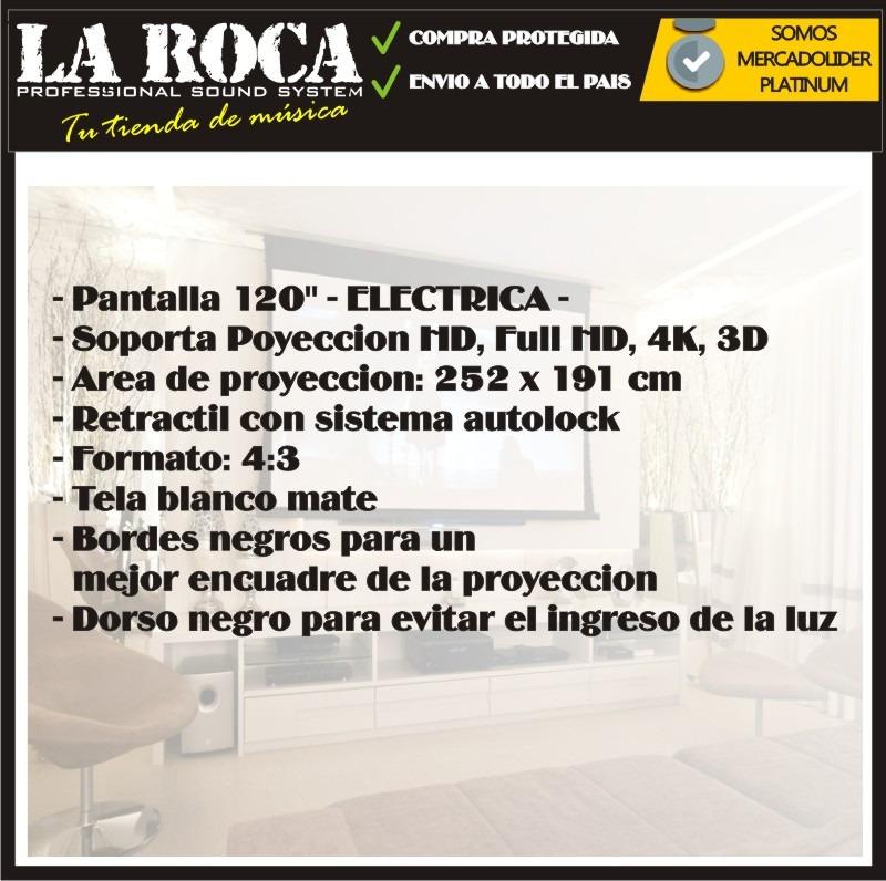 Pantalla Electrica Retractil Proyector 120 4:3 Blanco Mate - $ 4.049 ...