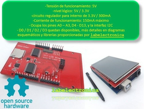 pantalla lcd 3.2 pulgs touch p/ arduino uno, leonardo o mega