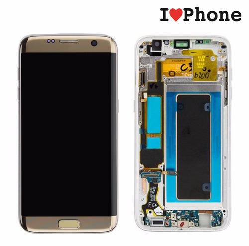 pantalla lcd samsung s7 edge dorada o plata con marco