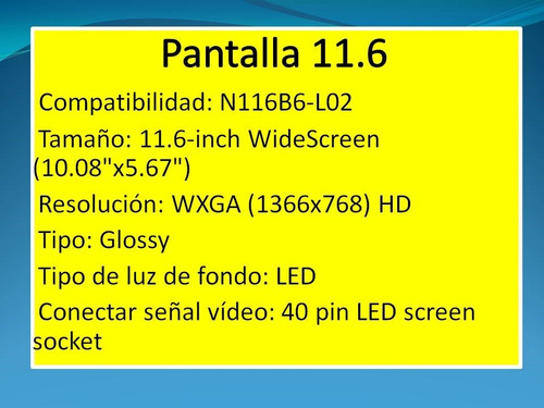 pantalla netbook 11.6  pugadas impecable...