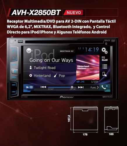 pantalla pioneer avh-x2850bt ame. tunning mod. 2016
