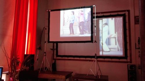 pantalla proyeccion gigante tela front-back 82 pulg 16:9