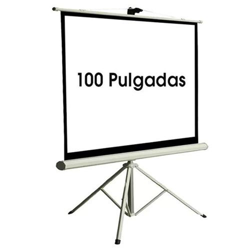 pantalla proyector femmto 100' manual con tripode tela lona