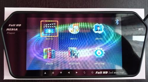 pantalla retrovisor 7 pulgada bluetooth + camara reversa led