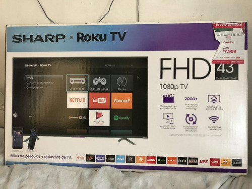 pantalla smart led 43 pulgadas sharp roku tv fhd wifi