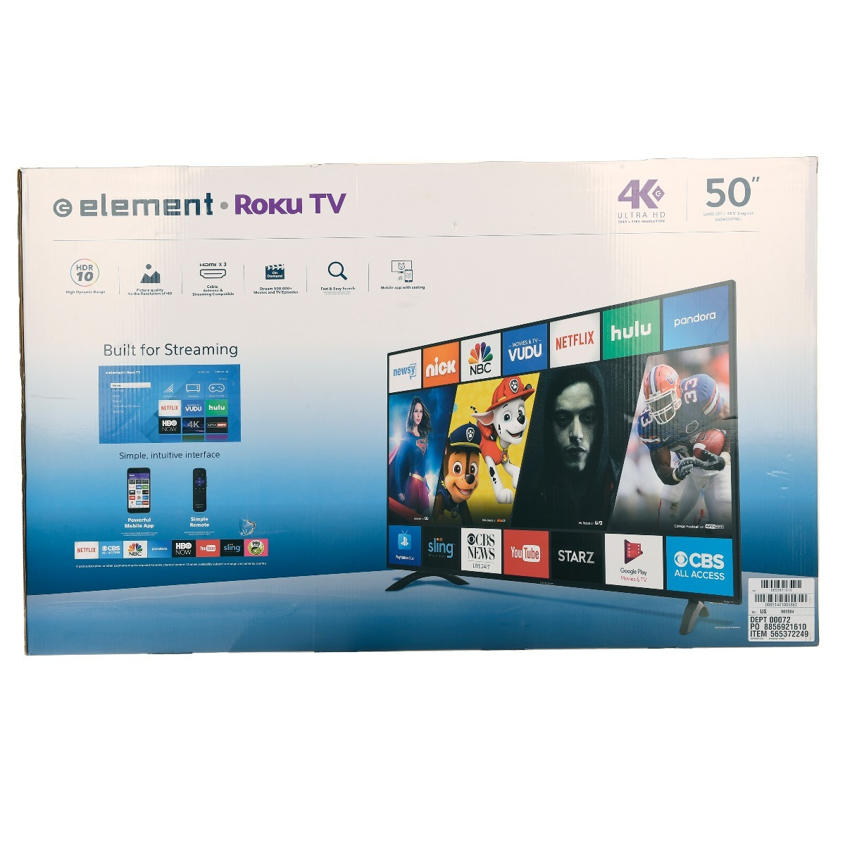 798ef748f23b9 pantalla smart tv 4k roku tv element 50 pulgadas e4sw5017rku. Cargando zoom.