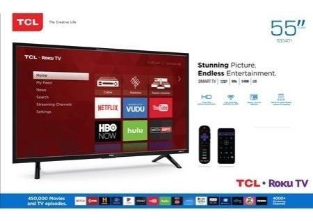 pantalla tcl 55  4k hdr 10 roku smart tv 120hz led