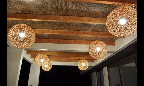 pantallas/esferas o lámparas de mimbre colgantes 70 cm