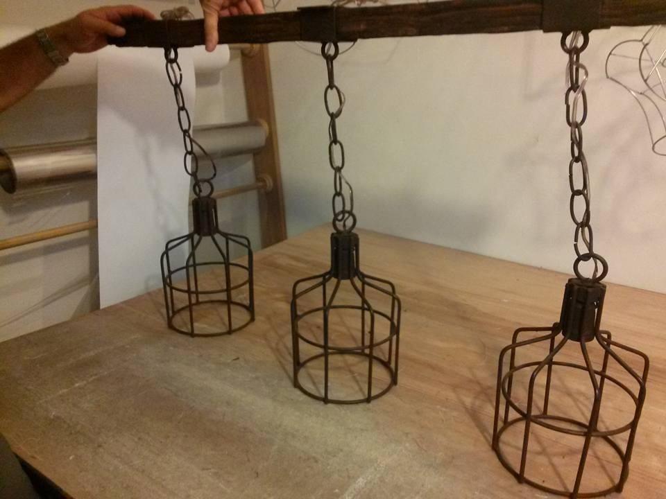Pantallas lamparas colgante de techo en hierro retro - Sillas colgantes del techo ...
