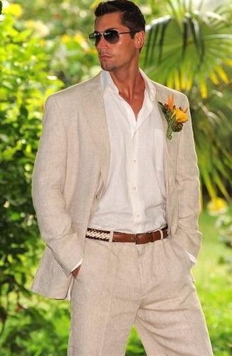 pantalon 38x30 cubavera de lino beige hueso hombre finisimos