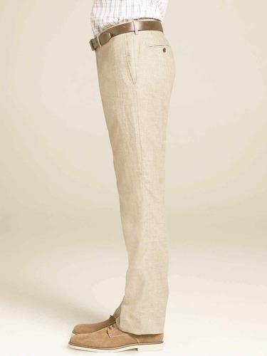 pantalon 40x30 cubavera de lino beige hueso hombre finisimos