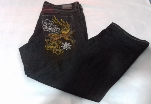pantalón baggy ecko, color negro, bordado, talla 38.