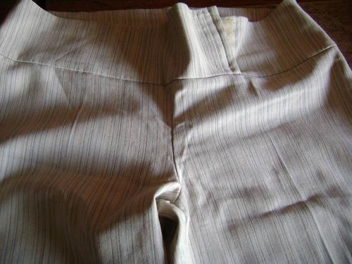 pantalon  beige talle 3 a rayas delicadas botamanga ancha