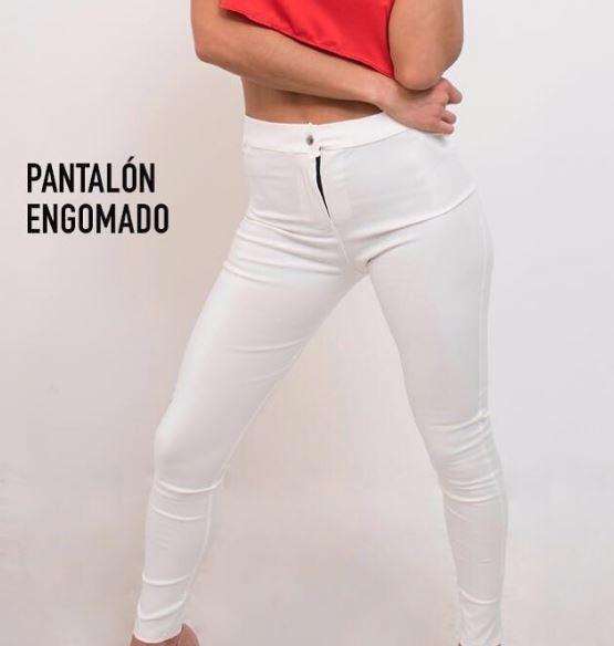Pantalon Blanco Engomado Elastizado Mujer