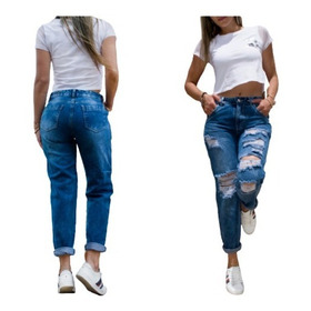 Pantalon Boyfriend  Destroyer Azul Para Dama