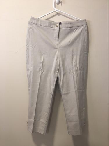 pantalón capri jm colection talla 12 color beige