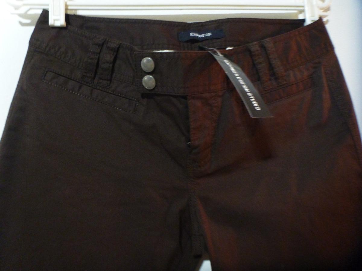7eae589603 pantalón capri para dama talla 2 marca express color marrón. Cargando zoom.