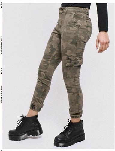 pantalon cargo camuflado gabardina elastizado