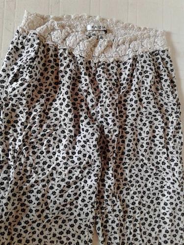 pantalon cargo floreado de verano talle s