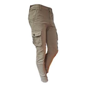 Pantalón Cargo Hombre Gabardina Elastizado Chupin Con Puño