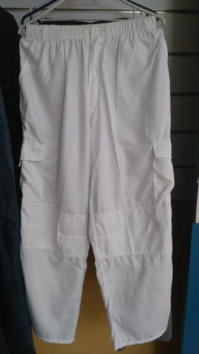 pantalon  cargo poplin blanco