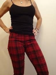 pantalon chupin elastizado escoces cuadrille punk rockabilly